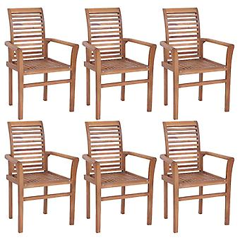 vidaXL Dining Chairs 6 Pcs. Stackable Teak Solid Wood