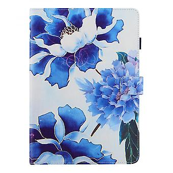 """Case For Ipad 9 10.2"""" Generation 2021 Cover Auto Sleep/wake Rotating Multi-angle Viewing Folio Stand - Blue Flower"""