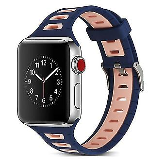 Two-tone T-shaped silicone watchband for Apple Watch series 3 & 2 & 1 42 mm pink blue