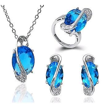Luxury Necklace Earrings Ring Set(Silver)