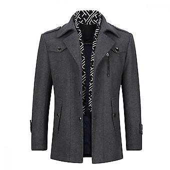 Mile Mens Trench Coat Long Business Woolen Jacket Casual Quilted Jacket Scarf Peacoat Overcoat