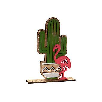 Figurine décorative DKD Home Decor Wood Cactus (18 x 4 x 23,5 cm)