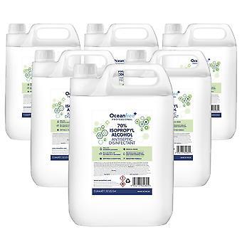 Désinfectant IPA Frottant Isopropyl Alcohol Hand Sanitiser - 5L Litre x6 - Certifié Chirurgical / Medical Grade - Fabriqué au Royaume-Uni