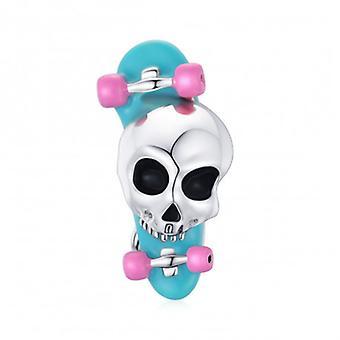 Sterling Silver Charm Skateboard Skull - 7176