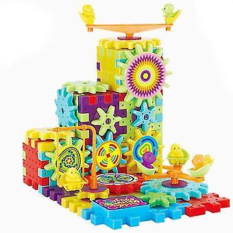 Wooden blocks gear kneading toy set children's electric rotating gear puzzle|gear toytoys children