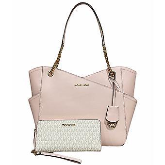 Michael kors jet set large chain shoulder tote blush + vanilla mk pink wallet