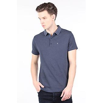 menns marineblå polo nakke t-skjorte