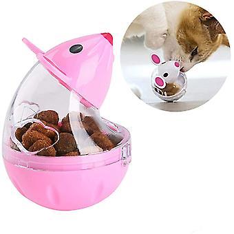 Dávkovač krmiva pre mačky, podávač občerstvenia, netesná guľa, ružová