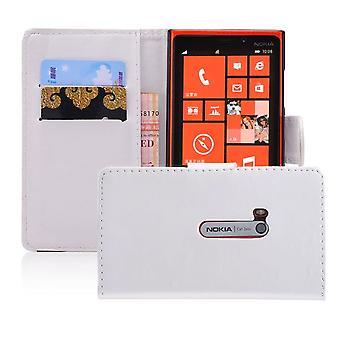 Boken plånbok PU läder fallet täcker för Nokia Lumia 920 + penna - vit