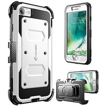 i-Blason-7 Plus caso iPhone, [Armorbox] construído em para-choques caso-branco