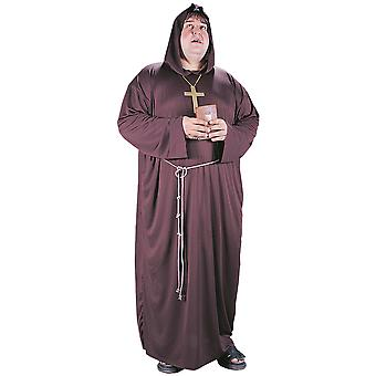 Monk Friar Tuck Robin Hood Medieval Brown Robe Religious Adult Mens Costume Plus
