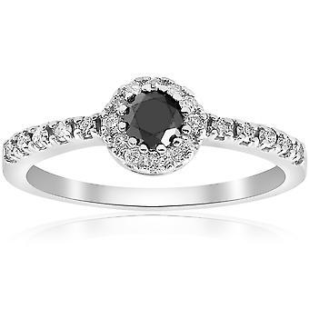 1ct zwart & White Diamond Engagement Halo 14K wit ronde Cut Ring
