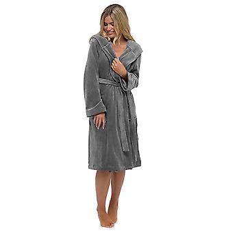 Ladies Wolf & Harte Warm Luxury Moleskin Shimmer Fleece Bathrobe Dressing Gown