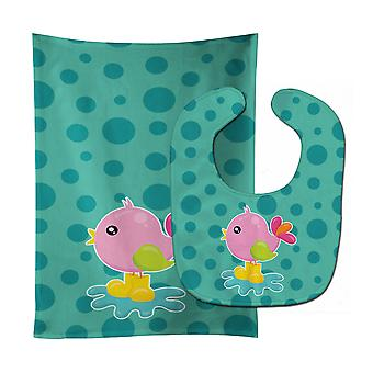 Bird in Rainboots and Puddle Baby Bib & Burp Cloth