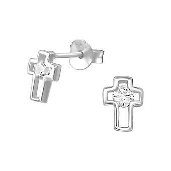 Крест - 925 стерлингового серебра кубического циркония уха шпильки - W35087x