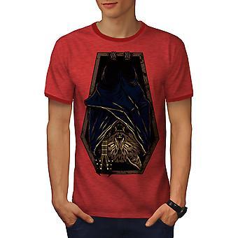 Bat Rock arkun kauhu miesten Heather punainen / RedRinger t-paita | Wellcoda