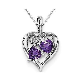 Purple Amethyst Heart Pendant Necklace in Sterling Silver 4/5 Carat (ctw)