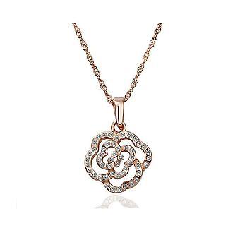 Womens Rose guld kristall blomma hänge halsband BG1620