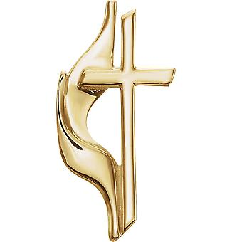14k Yellow Gold Methodist Cross Lapel Pin 19x10mm Jewelry Gifts for Men - 1.2 Grams