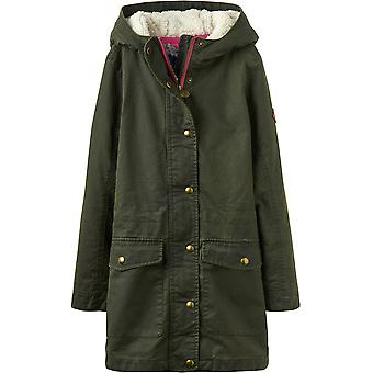 Joule flickor klöver Faux Wax varm Polar Fleece Parka Jacket Coat