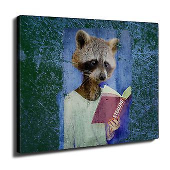 Racoon bok tyven dyr veggen kunst lerret 40 cm x 30 cm | Wellcoda