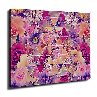 Flower Ornament Wall Art Canvas 40cm x 30cm | Wellcoda