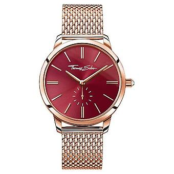 Thomas Sabo Womans Glam Spirit Steel Rose Gold Mesh Strap Red Dial WA0276-265-212-33