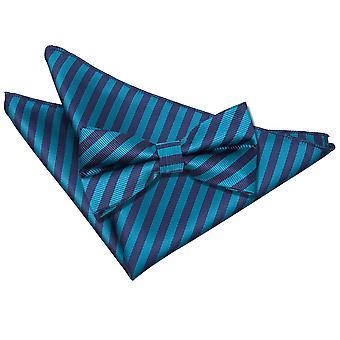 Marineblau & Teal dünnen Streifen Fliege & Einstecktuch Satz