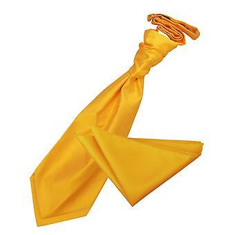 Sonnenblumen Gold solide Check Hochzeit Cravat & Einstecktuch Satz