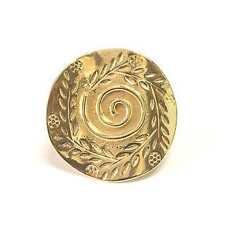 Græske Olivenblad og Spira Disc Ring i 18k guld Overlay sterlingsølv