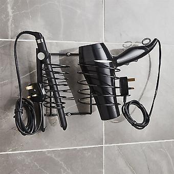 Sèche-cheveux titulaire comprend lisseur titulaire et Cable Tidy métalique noir