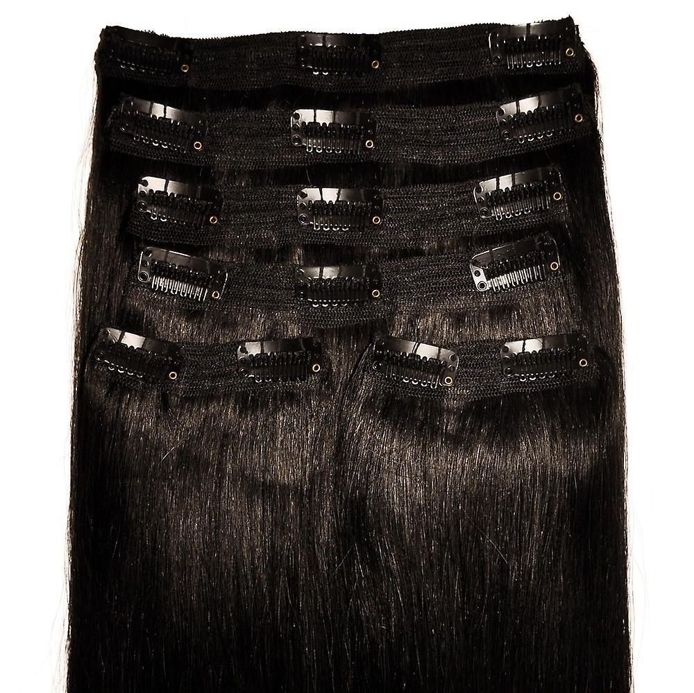 N ° 1 b noir naturel - Clip-in Hair Extensions - tête complète - Deluxe