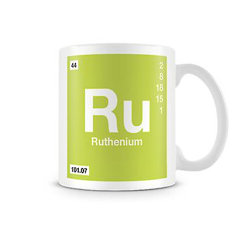Научные печатные кружка, показывая элемент символ 044 рутений
