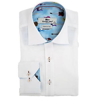Клаудио Lugli гитара отделки печати печати Мужская рубашка