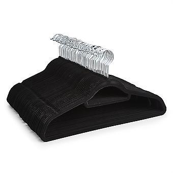 50 cintres Slip Velvet Non noir avec cravate ceinture écharpe porte - Ultra slim design