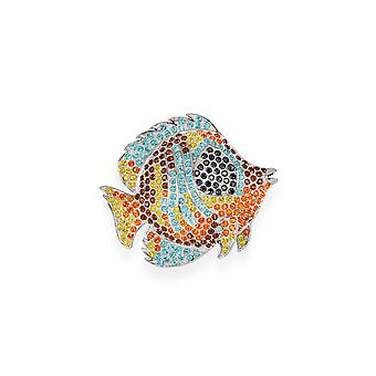 Multicolor brooch with crystals from Swarovski 7111