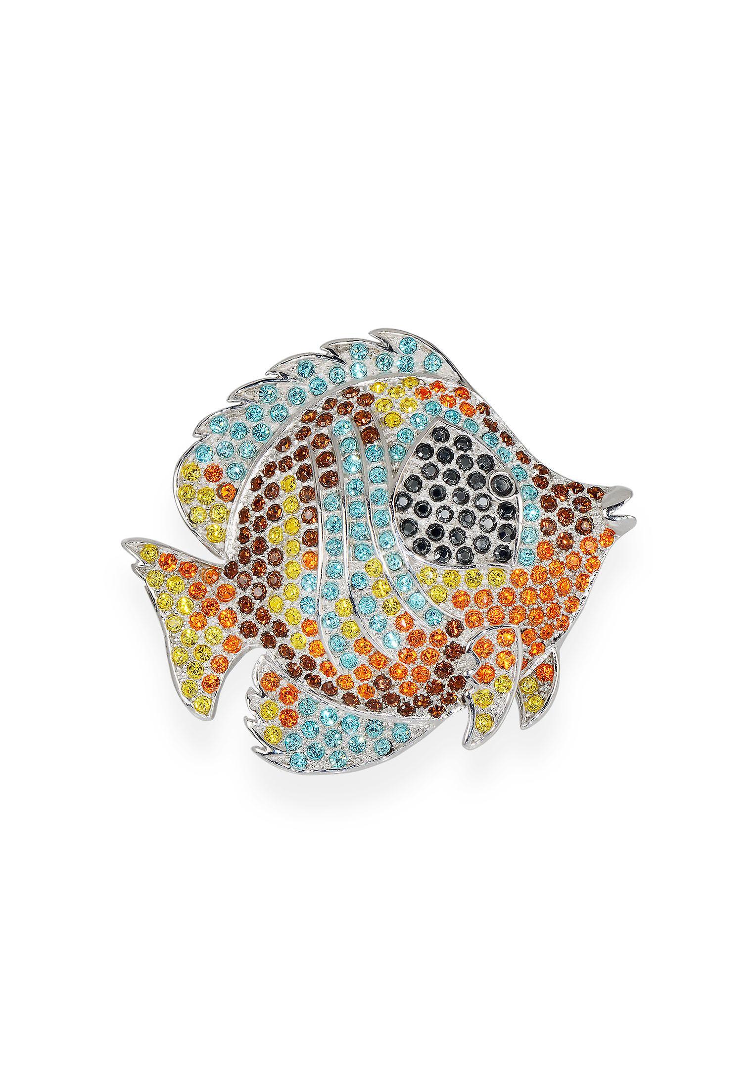 Multicolor brooch with crystals from Swarovski 7111