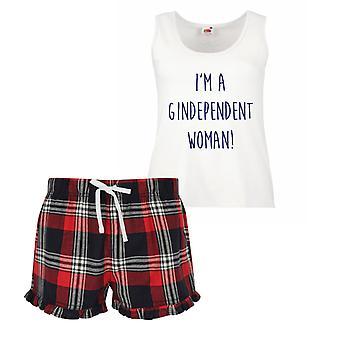 Io sono una donna Gindependant Gin Ladies Tartan Frill pigiama corto Set rosso blu o verde blu