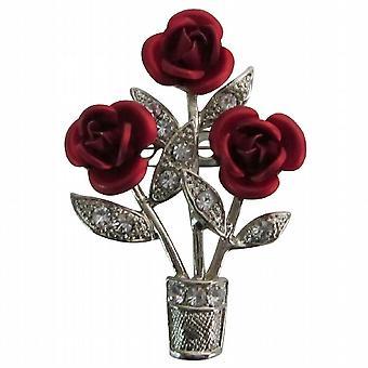 Esotici mozzafiato belle rose rosse vaso spilla spilla mozzafiato unico