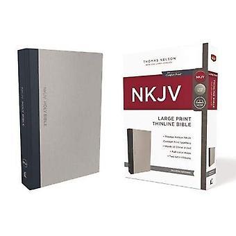 NKJV Bíblia Thinline, letras grandes, pano por cima da placa, edição de carta cinza/azul, vermelho, impressão de conforto