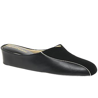 Relax Slippers Martha Black Leather And Suede Slipper