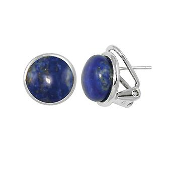 Eternal Collection Grace Lapis Lazuli Cabochon Sterling Silver Stud Pierced Earrings