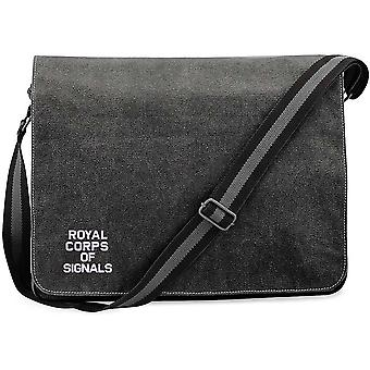 Royal Corps Of Signals Text - Licensed British Army Embroidered Vintage Canvas Despatch Messenger Bag