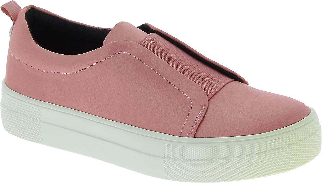 Steve Madden Women's fashion platform laceless slip-on shoes in pink satin IYf4j