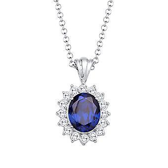 Elli hopea naisten kaula koru 925 sininen kristalli-45 cm