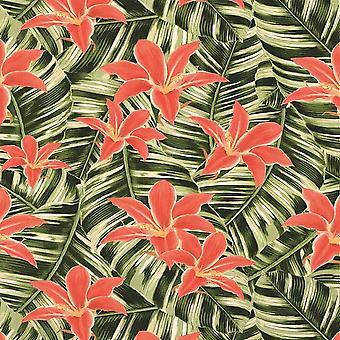 Verde rosa tropical floral papel de parede folha selva colar parede Superfresco fácil