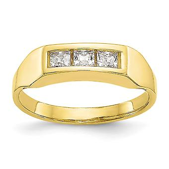 10k Yellow Gold Cubic Zirconia Polished for boys or girls Ring