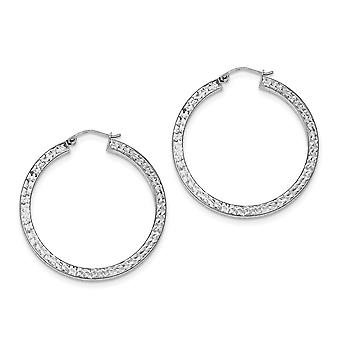 925 Sterling Silver Hinged post Sparkle-Cut 3x40mm Square Tube Hoop Boucles d'oreilles - 3,5 Grammes