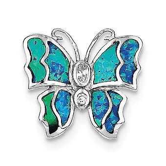 925 στερλίνα ασημένια στερεά κρυφή εγγύηση στιλβωμένο πίσω ρόδιο επιμεταλλωμένα μπλε ένθετο προσομοιωμένο Opal πεταλούδα Angel φτερά Penda
