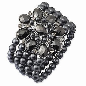 Svart plätering svart pläterad svart och hematit akrylpärlor Stretch Armband Smycken Gåvor för kvinnor
